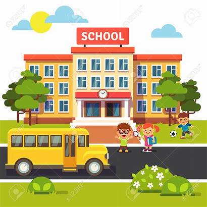 Building Clipart Elementary Cliparts Buildings Yard Bus