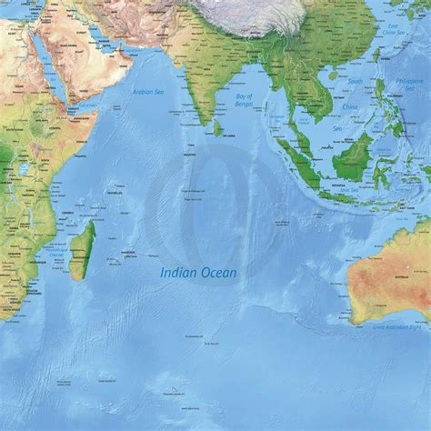 vector map   indian ocean political  shaded