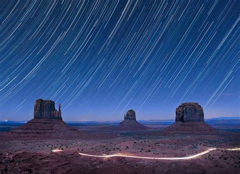 january   star trails  monument valley photo