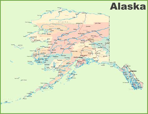 large detailed map  alaska
