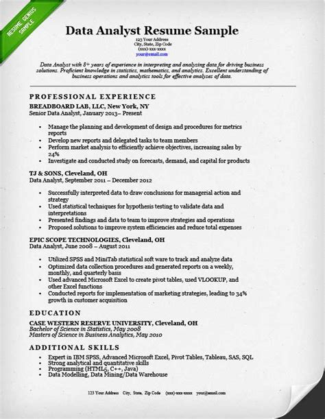Resume For Analytics by Data Analyst Resume Sle Resume Genius