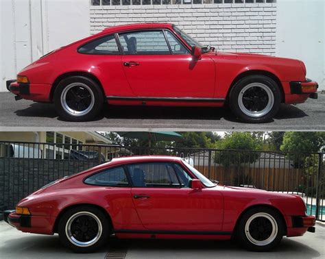 porsche before and after 911 sc lowered ride height pics measurements please