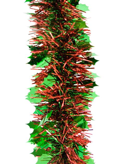 green holly leaf pine needle tinsel garland 2 7m