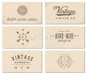 Vector vintage business card template set snap vectors for Retro business card template