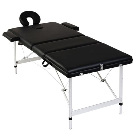 acheter table de pliante 3 zones noir cadre en aluminium pas cher vidaxl fr