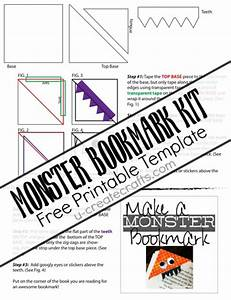 6 best images of free printable monster bookmarks free With create your own bookmark template