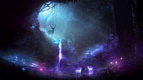 deer animal night fantasy waterfall hd artist
