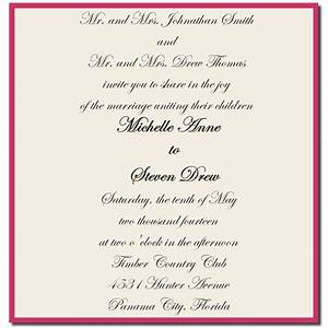 wording sample for wedding invitations wedding invitation With when to send out wedding invitations emily post