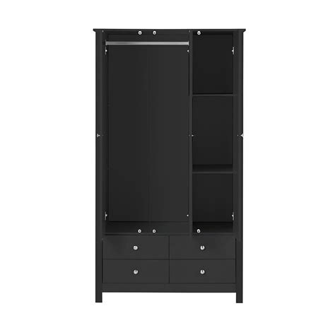 Black Wardrobe by Florence 3 Door 4 Drawer Wardrobe With Mirror In Black