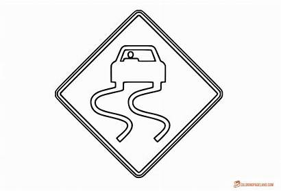 Signs Road Coloring Traffic Slippery Wet Sign