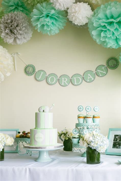 Pink Green Yellow Baby Shower by My Mint Grey White And Elephant Themed Baby Shower