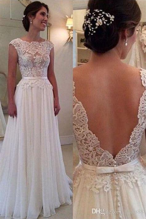 2016 elegant a line wedding dress with backless bateau