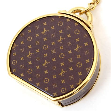 auth louis vuitton key chain ring mirror monogram
