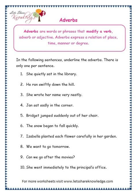 Grade 3 Grammar Topic 16 Adverbs Worksheets  Lets Share Knowledge