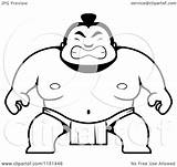 Sumo Cartoon Guy Crouching Clipart Coloring Outlined Vector Cory Thoman Regarding Notes sketch template