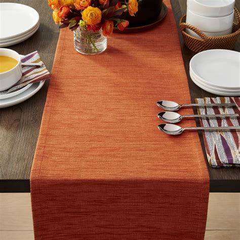 kitchen table and chair grasscloth 90 quot orange table runner crate and barrel