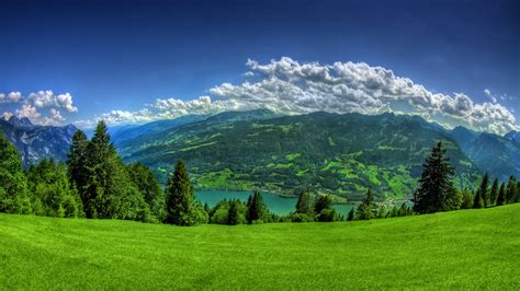 Lush Green Grass Mountains Full Hd