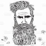 Coloring Adult Hipster Bearded Beard Adults Colouring Drawn Vernissage Human Males Flowers Joka Market Wandbild Shutterstock Balls sketch template