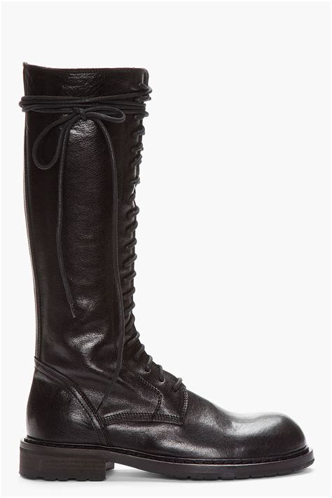 lyst ann demeulemeester tall black leather laceup boots  black  men