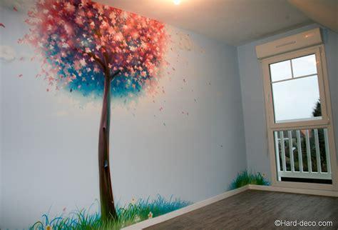 dessin mural chambre fille peinture murale décorative cerisier japonais