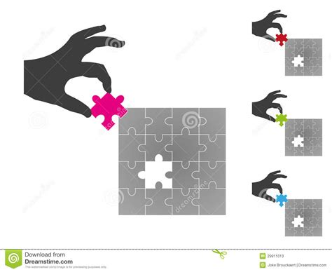 Silhouette Hand Putting Missing Puzzle Piece Stock Photos