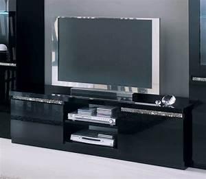 Meuble Tv Hifi : meuble tv plasma cromo laque noir ~ Teatrodelosmanantiales.com Idées de Décoration