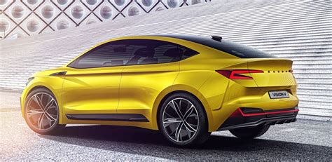 skoda vision iv revealed  super sexy suv coupe concept