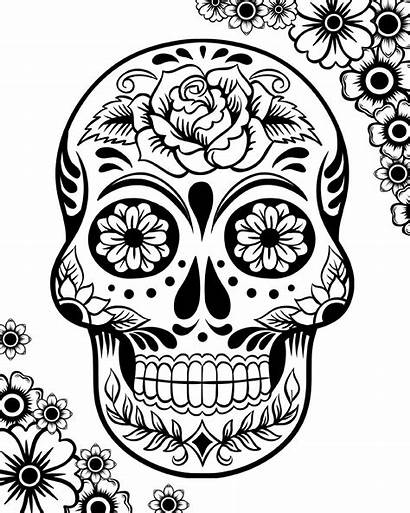 Coloring Dead Printable Pages Skulls