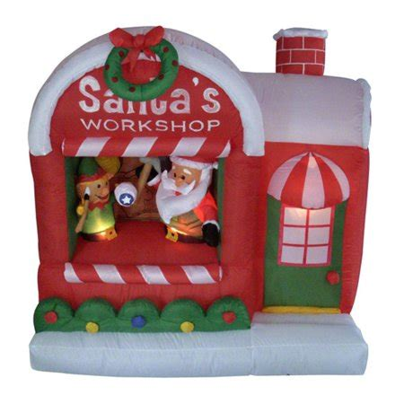 inflatable santas workshop lighted christmas yard art