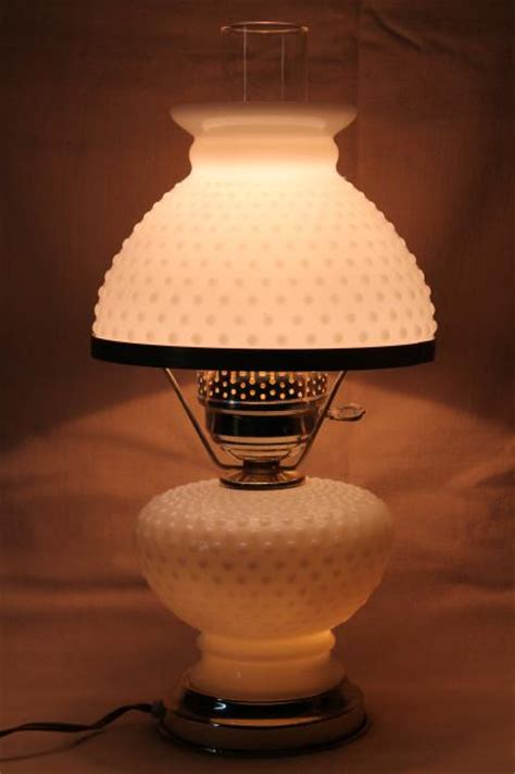 vintage hobnail milk glass student lamp table lamp  milk glass lamp shade