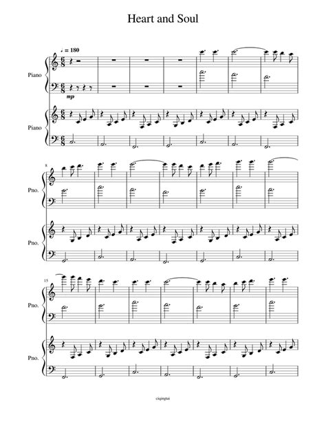 Sheet music is available for piano, voice, guitar and 14 others with 9 scorings and 2 notations in 13 genres. Heart and Soul Piano Duet Sheet music for Piano | Download ...