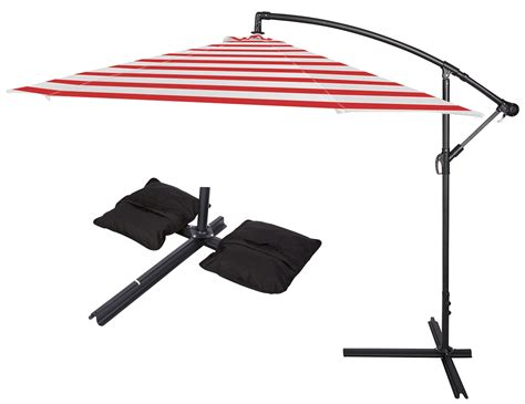 10 deluxe polyester offset patio umbrella with set of 2