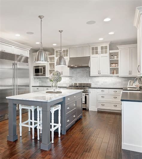 kitchen cabinet makeovers grey white kitchen w wood floors farmhouse sink 2605
