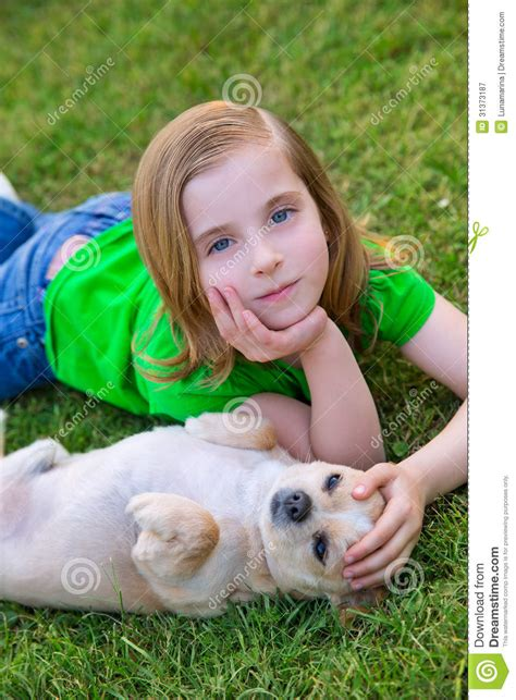 Blond Happy Girl With Her Chihuahua Doggy Portrait Royalty Free Stock Photography Image