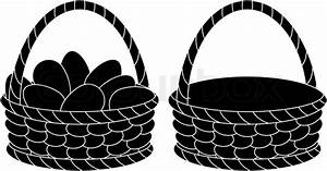 Baskets, empty and with eggs, silhouettes Stock Vector