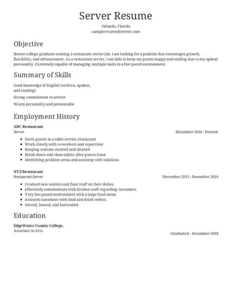 Resume Exles For Servers by Real Restaurant Server Resume Critique Resume