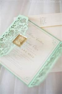 wedding wednesday mint green wedding details personal With laser cut wedding invitations minted