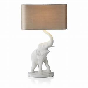 white stone elephant table lamp rectangular taupe silk shade With table lamp elephant base