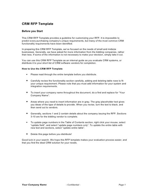 rfp requirements template crm rfp template