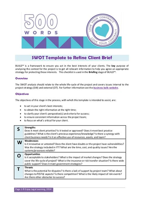 swot template  construction projects