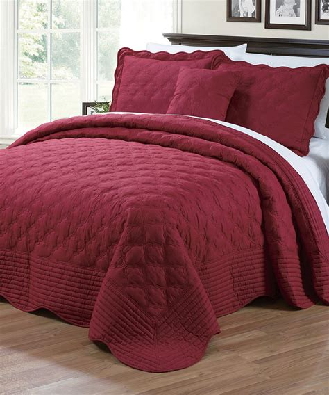 burgundy bedspread serenta quilted cotton 4 piece bedspread set queen burgundy ebay
