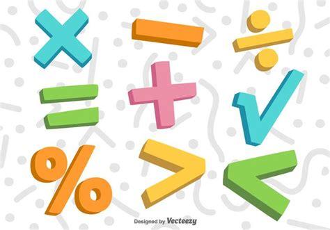Símbolos de matemáticas de vector 3D Descargue Gráficos