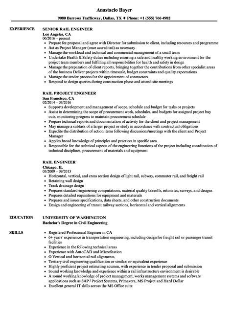 Subway Responsibilities Resume by Rail Engineer Resume Sles Velvet