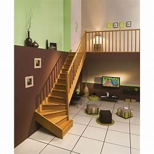 Escalier quart tournant bas droit Authentic structure bois marche bois Leroy Merlin