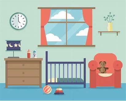 Nursery Furniture Illustration Vector Flat Interior Illustrations