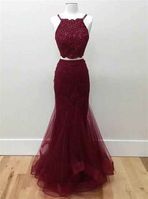 piece burgundy prom dresses  spaghetti straps