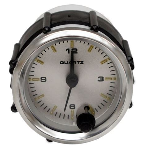 Boat Clock Gauge by Faria Cl1069a Kronos Silver Series 2 Inch Boat Analog