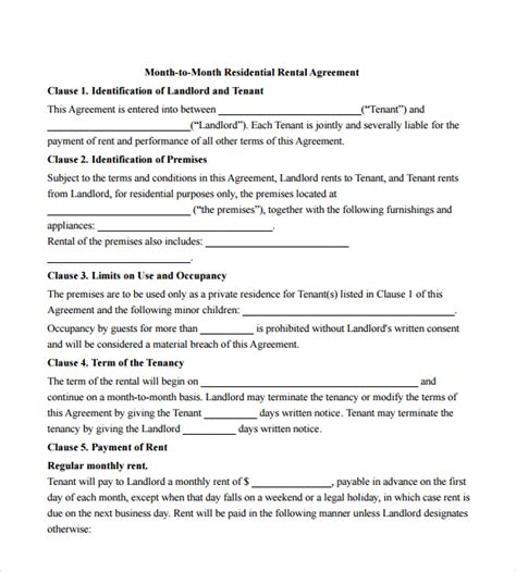 form 68 rental agreement 12 month to month rental agreement form templates to