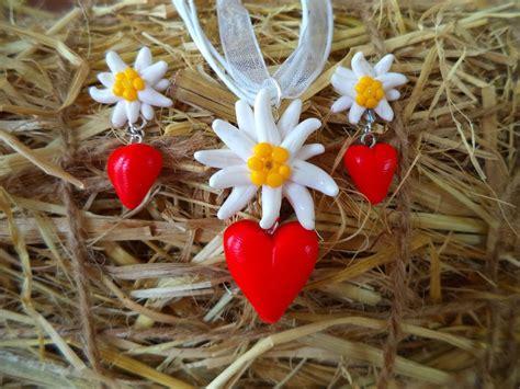 ohrringe selber machen set handmade set dirndl trachten ohrringe edelwei 223 earring necklace wiesn oktoberfest herz