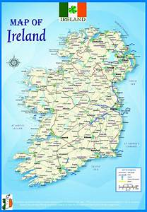 Laminated Ireland Geographical Political Atlas Map Poster